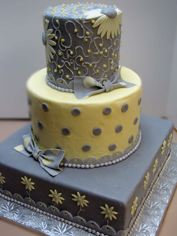 Yellow And Gray Wedding Cake  Yellow Wedding Cakes Bitsy Bride
