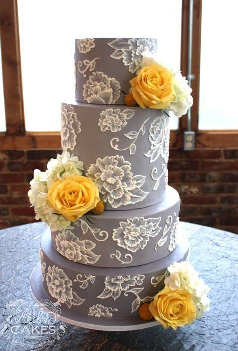 Yellow And Grey Wedding Cake  36 Cheerful Grey And Yellow Wedding Ideas Weddingomania