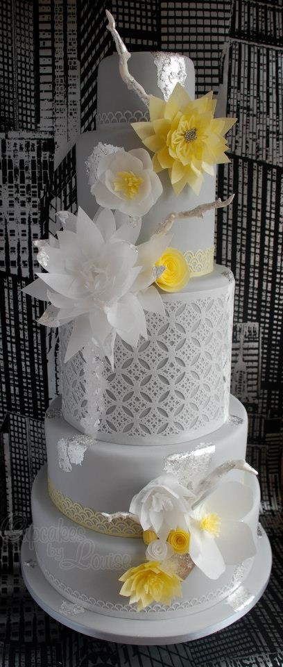 Yellow And Grey Wedding Cake  1000 images about rice paper flowers on Pinterest