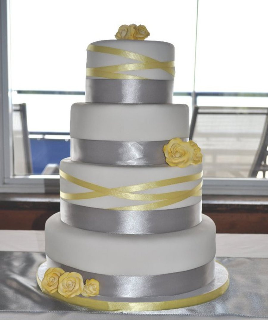 Yellow And Grey Wedding Cake  Grey And Yellow Ribbon Wedding Cake CakeCentral