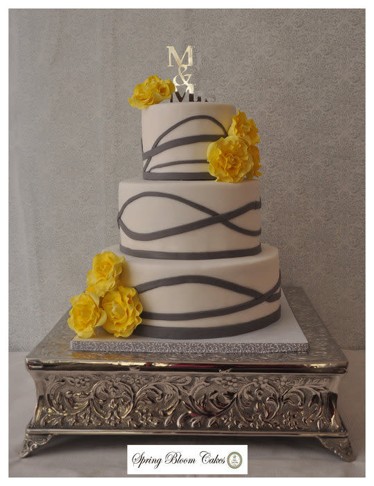 Yellow And Grey Wedding Cake  Yellow and Gray Wedding Cake Cake by Spring Bloom Cakes