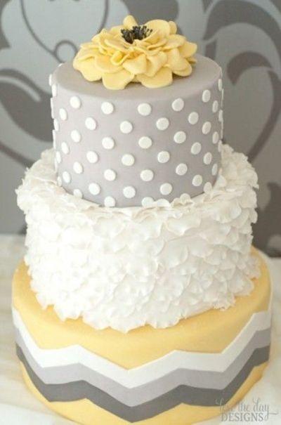 Yellow And Grey Wedding Cake  gray and yellow cake wedding cakes Juxtapost