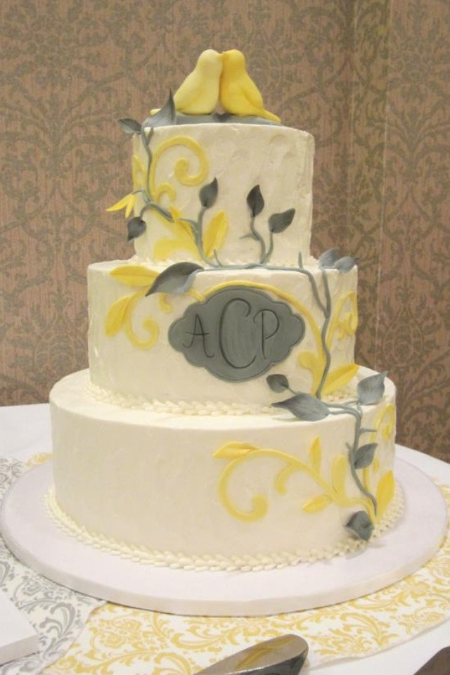 Yellow And Grey Wedding Cake  Yellow and grey wedding cakes idea in 2017