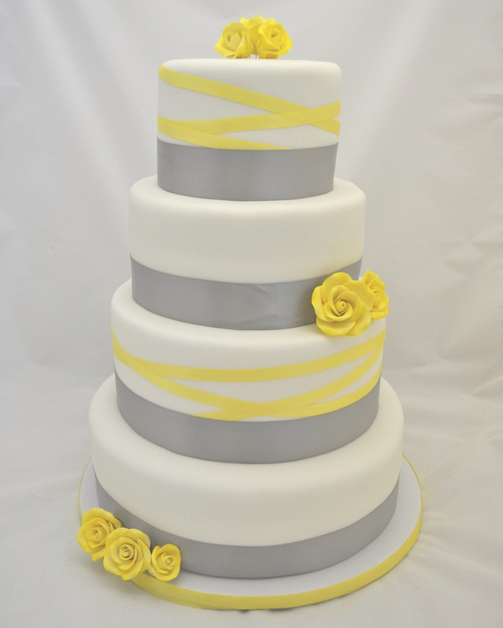 Yellow And Grey Wedding Cake  Grey and canary yellow wedding