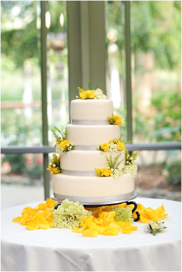 Yellow And Grey Wedding Cake  Romantic French inspired wedding at La Caille