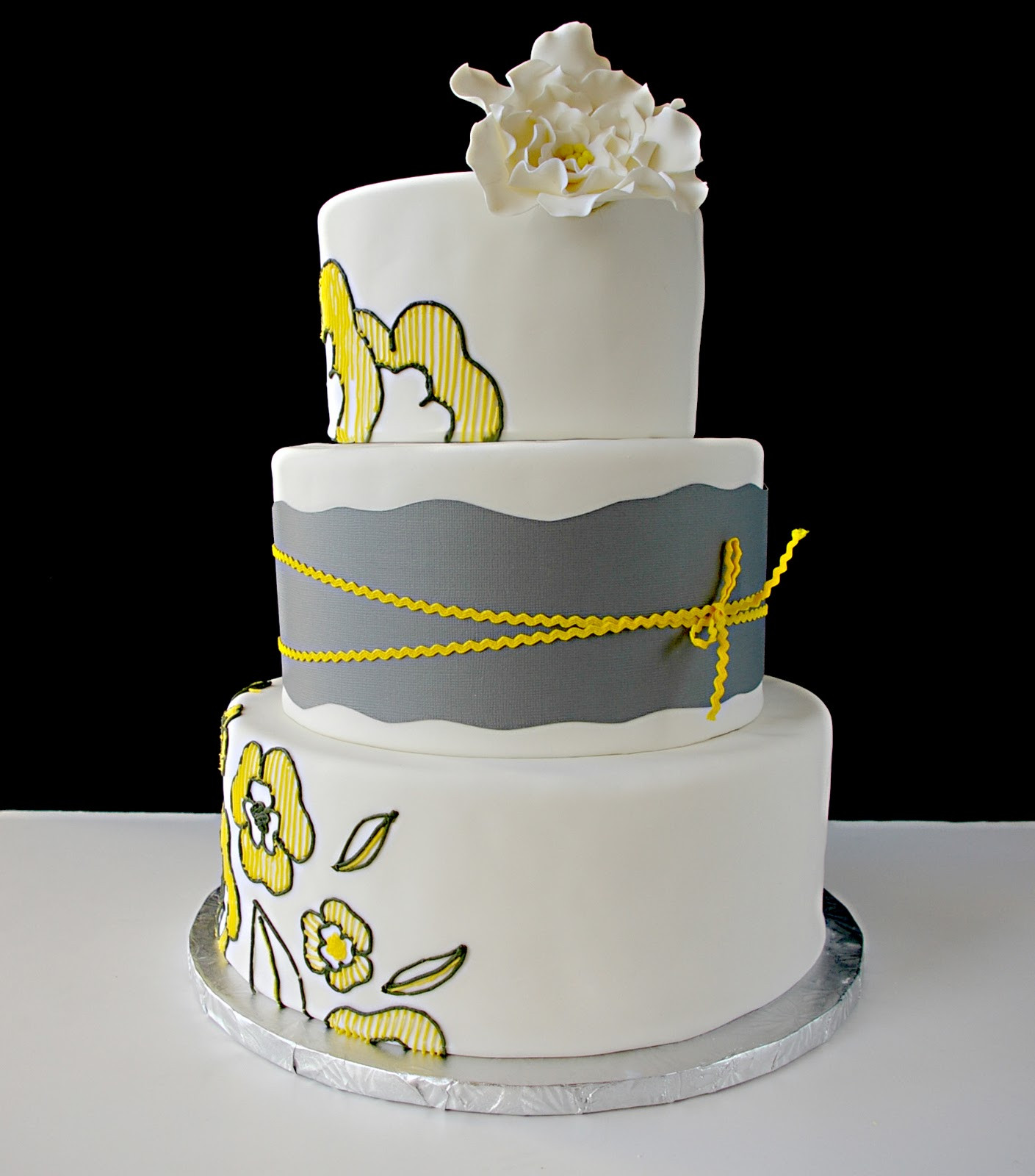 Yellow And Grey Wedding Cake  These Peas are Hollow CH CH CH Changes