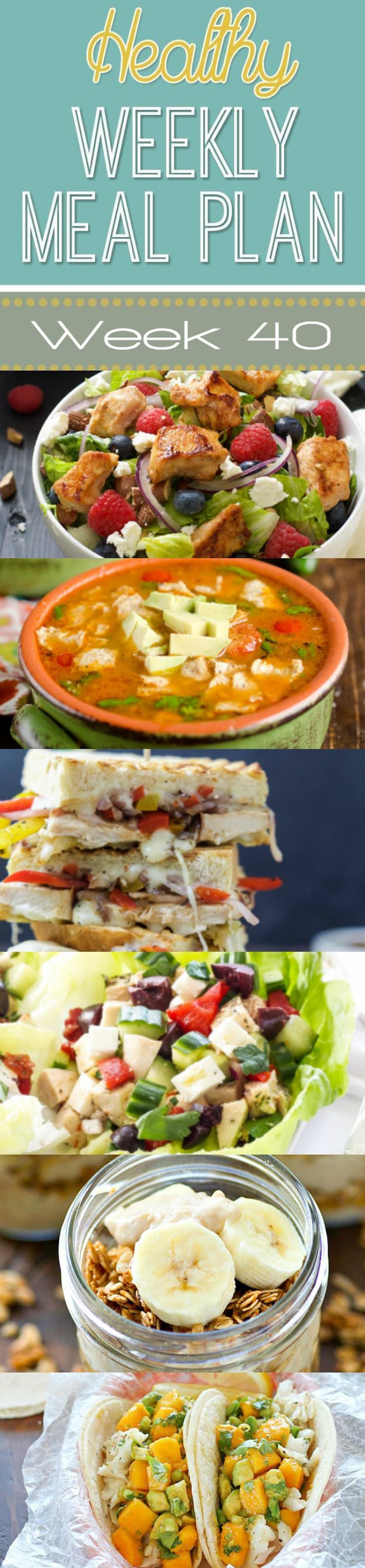 Yummy Healthy Dinners  Healthy Weekly Meal Plan 40 Yummy Healthy Easy