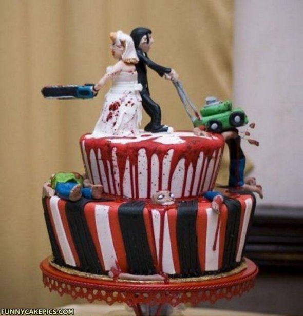 Zombie Wedding Cakes  I found the prefect weding cake design but FI said NO