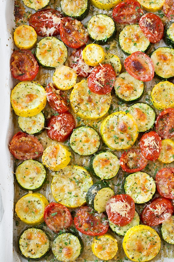 Zucchini And Summer Squash Recipes  Roasted Garlic Parmesan Zucchini Squash and Tomatoes
