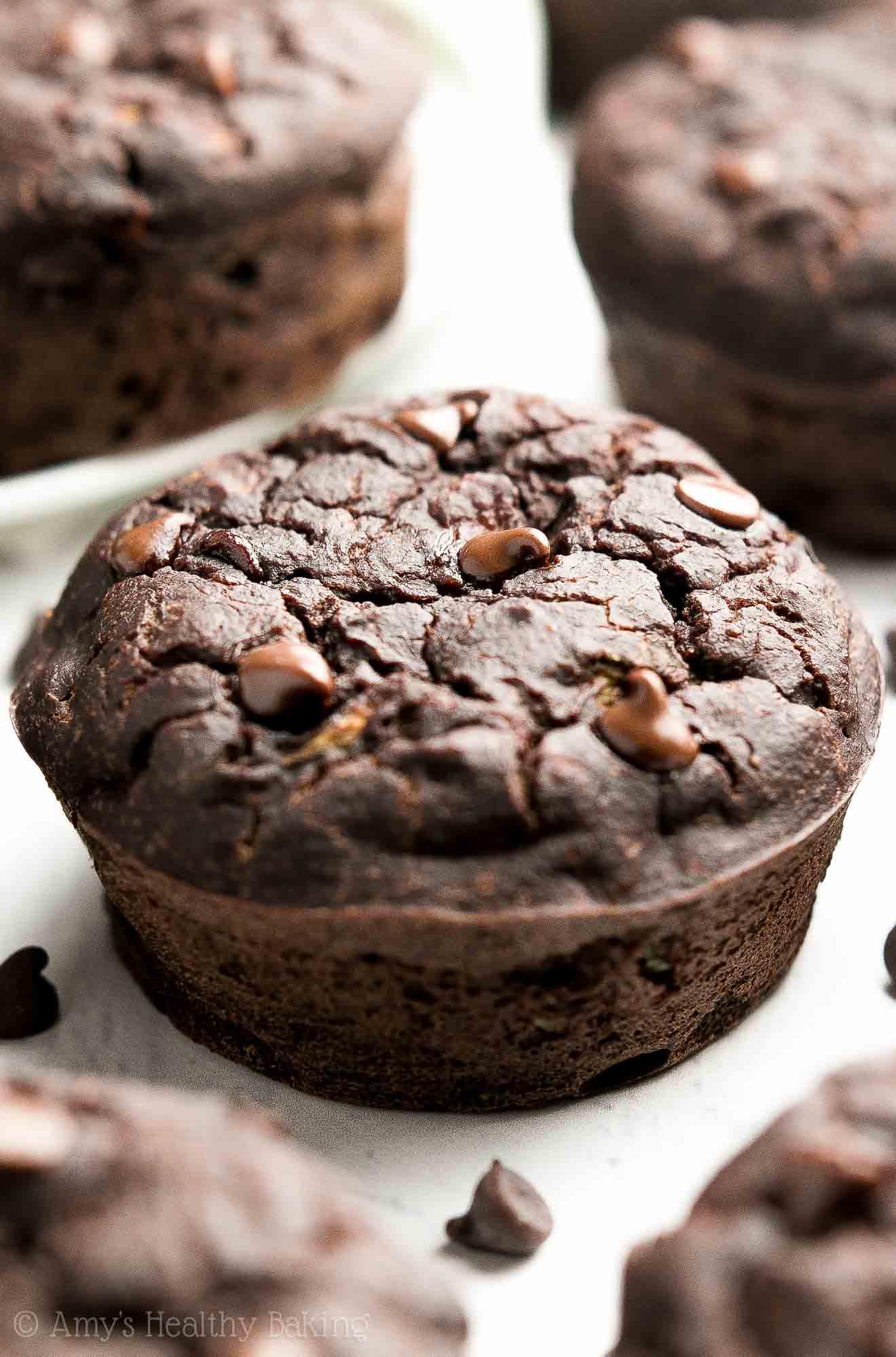 Zucchini Muffins Healthy  Healthy Double Chocolate Zucchini Muffins