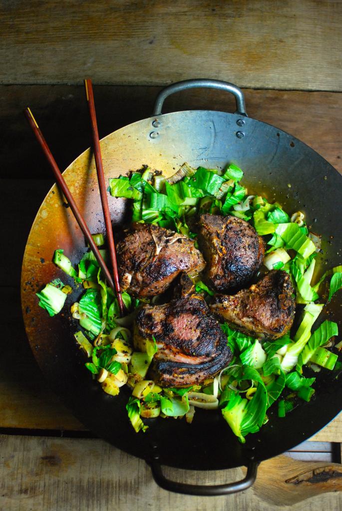 5. Dijon Lamb Chops With Leeks And Bok Choy