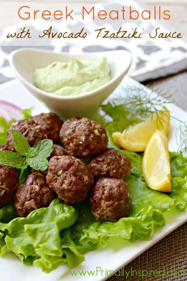13. Greek Meatballs With Avocado Tzatziki Sauce