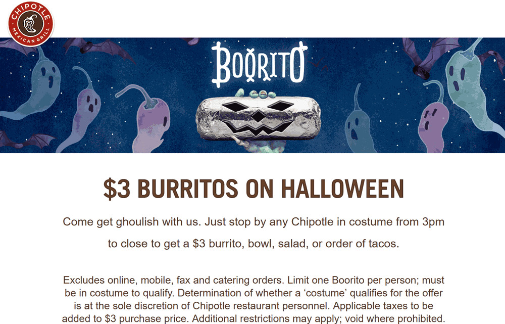 $3 Burritos At Chipotle On Halloween  Chipotle Coupons $3 burritos on Halloween at Chipotle