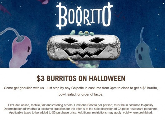 $3 Burritos At Chipotle On Halloween  Chipotle Burrito $3 on Halloween 10 31 Deal Seeking Mom