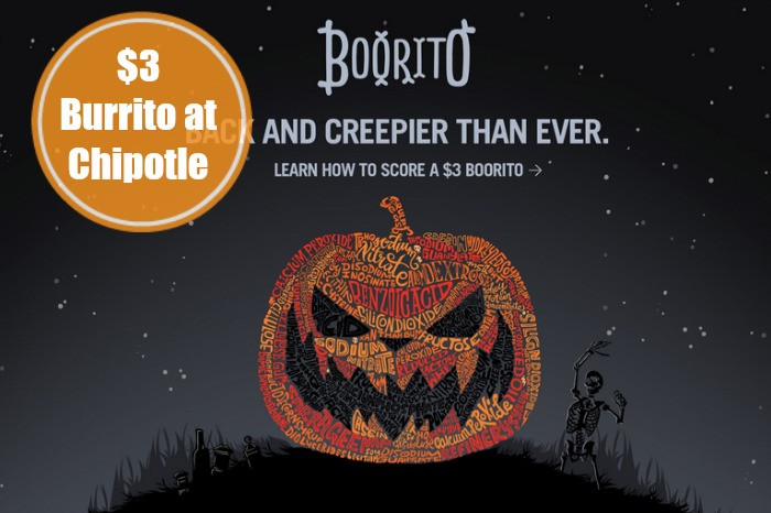 $3 Burritos At Chipotle On Halloween  $3 00 Chipotle Burrito on Halloween 5pm CloseLiving