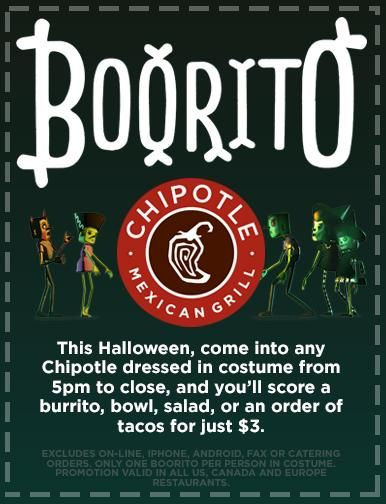 $3 Burritos At Chipotle On Halloween  Chipotle Halloween $3 Burrito Bowl Taco or Salad $3 00
