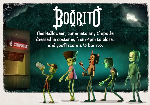 $3 Burritos At Chipotle On Halloween  News Chipotle e in Costume for $3 Burrito on