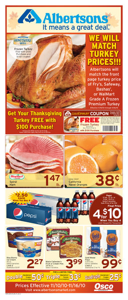 Albertsons Thanksgiving Dinners Prepared  Alicias Deals in AZ – Search Results – local dines