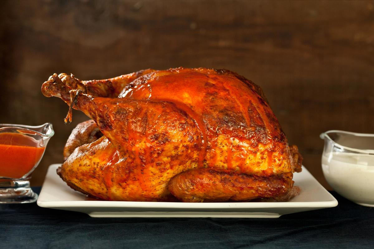 Baked Turkey Recipes For Thanksgiving  Buffalo Roasted Turkey with Blue Cheese Sauce Recipe
