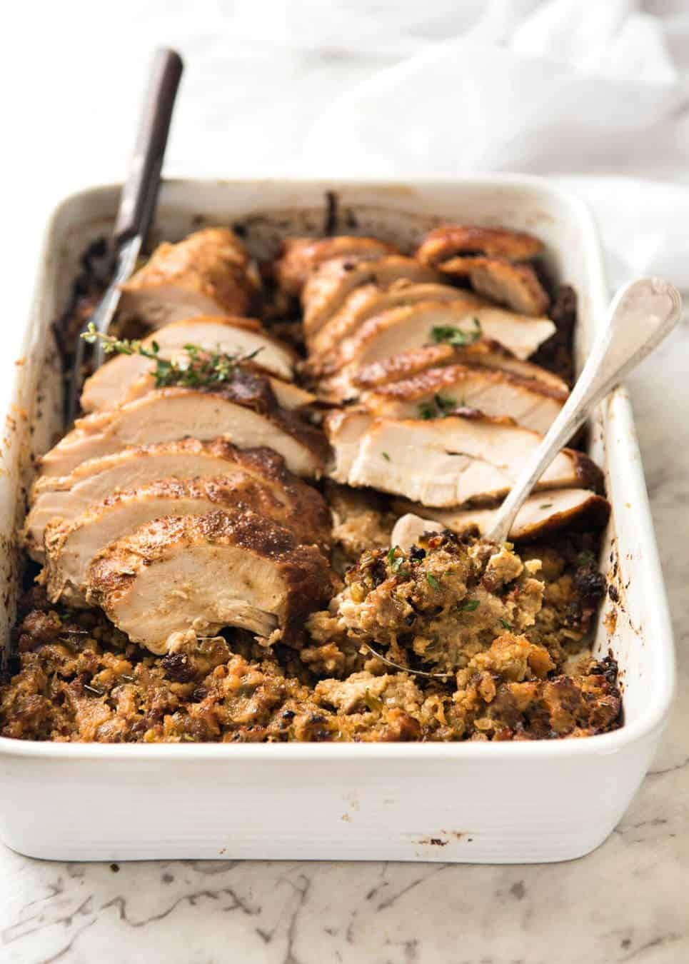 Baked Turkey Recipes For Thanksgiving  Cajun Baked Turkey Breast and Dressing Stuffing