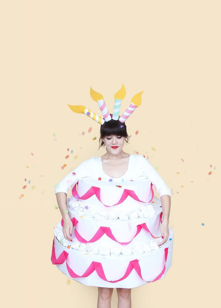 Birthday Cake Halloween Costume  DIY Three Tiered Cake Halloween Costume