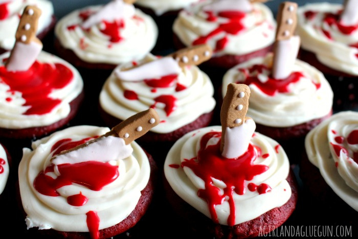 Bloody Halloween Cupcakes  Bloody cupcakes A girl and a glue gun