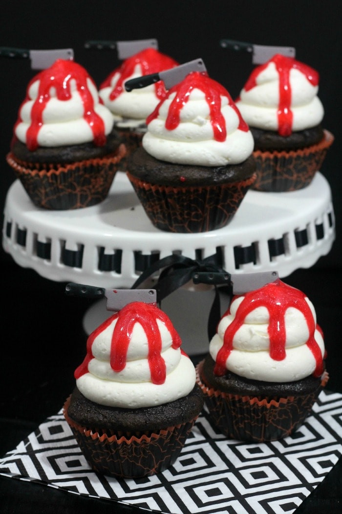 Bloody Halloween Cupcakes  Bloody Knife Halloween Cupcakes Recipe