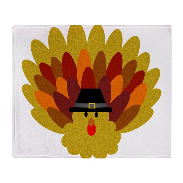 Bojangles Turkey For Thanksgiving 2019  Happy Thanksgiving Turkey Throw Blanket by DemmaDesigns