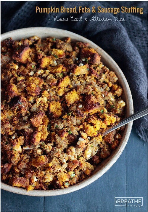 Bread Dressing For Thanksgiving  Low Carb Pumpkin Bread Sausage & Feta Stuffing IBIH