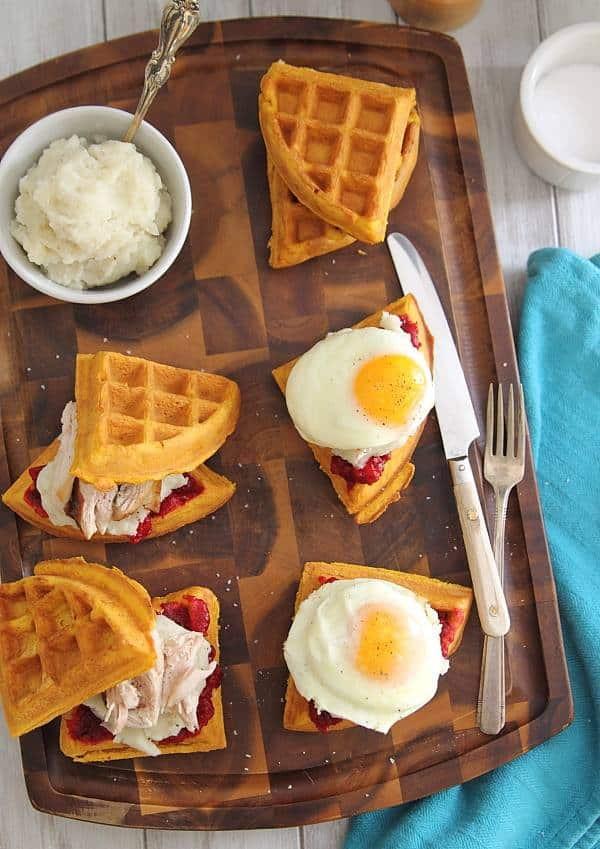 Breakfast Open On Thanksgiving  Thanksgiving leftover waffle breakfast sandwiches
