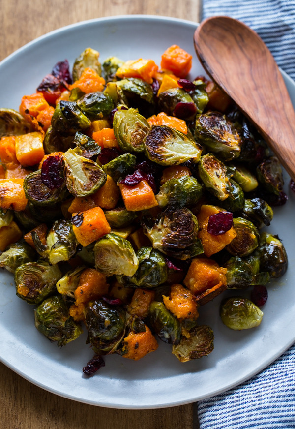 Brussels Sprouts Thanksgiving Side Dishes  Roasted Brussels Sprouts and Squash with Dried Cranberries