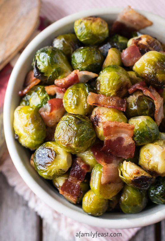 Brussels Sprouts Thanksgiving Side Dishes  Oven Roasted Brussels Sprouts with Bacon A Family Feast