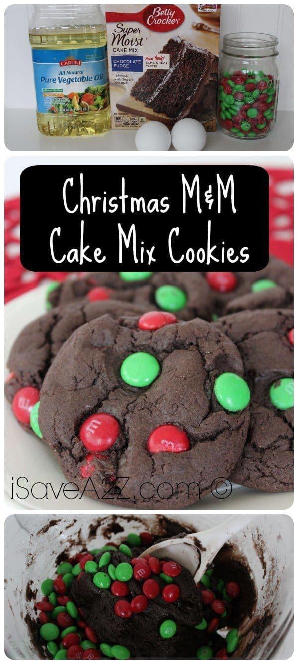 Cake Mix Christmas Cookies  Christmas M&M Cake Mix Cookies iSaveA2Z