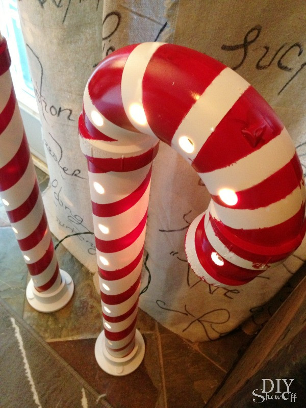 Candy Cane Outdoor Christmas Decorations  Lighted PVC Candy Canes DIY Christmas Home Decor DIY