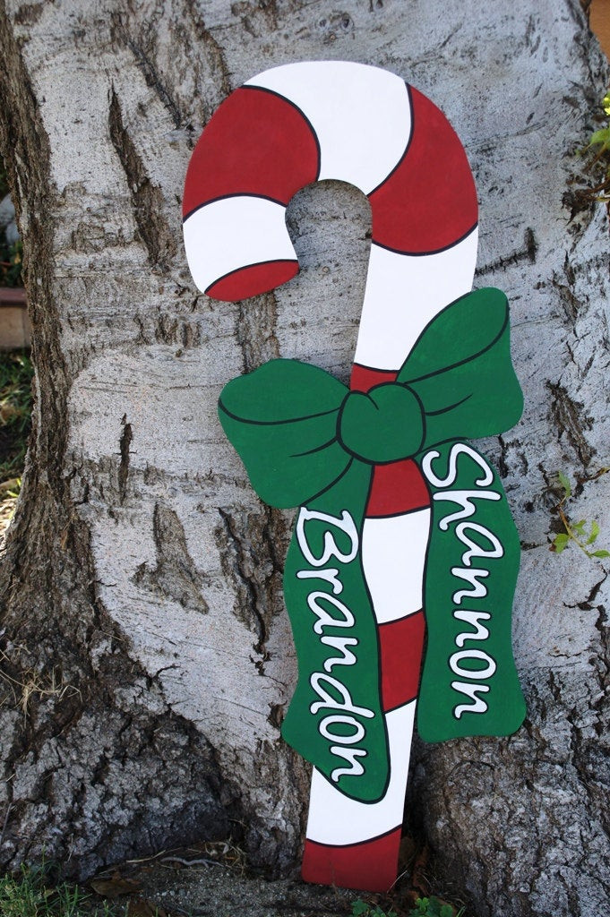 Candy Cane Outdoor Christmas Decorations  Christmas Candy Cane Wood Yard Art Outdoor Decoration