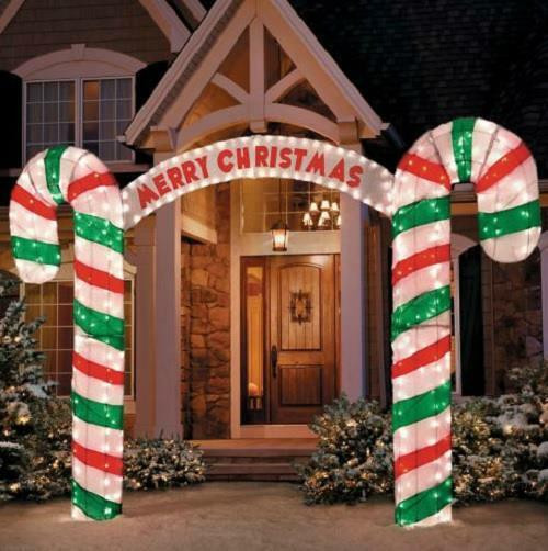 """Candy Cane Outdoor Christmas Decorations  New 10"""" W Lighted Merry Christmas Candy Cane Archway"""