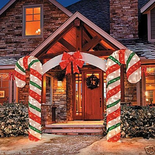 Candy Cane Outdoor Christmas Decorations  Outdoor Lighted Christmas Candy Cane Arch Yard Display