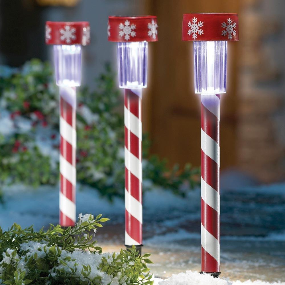 Candy Christmas Lights  3 Christmas Peppermint Candy Cane Solar Light Stakes New