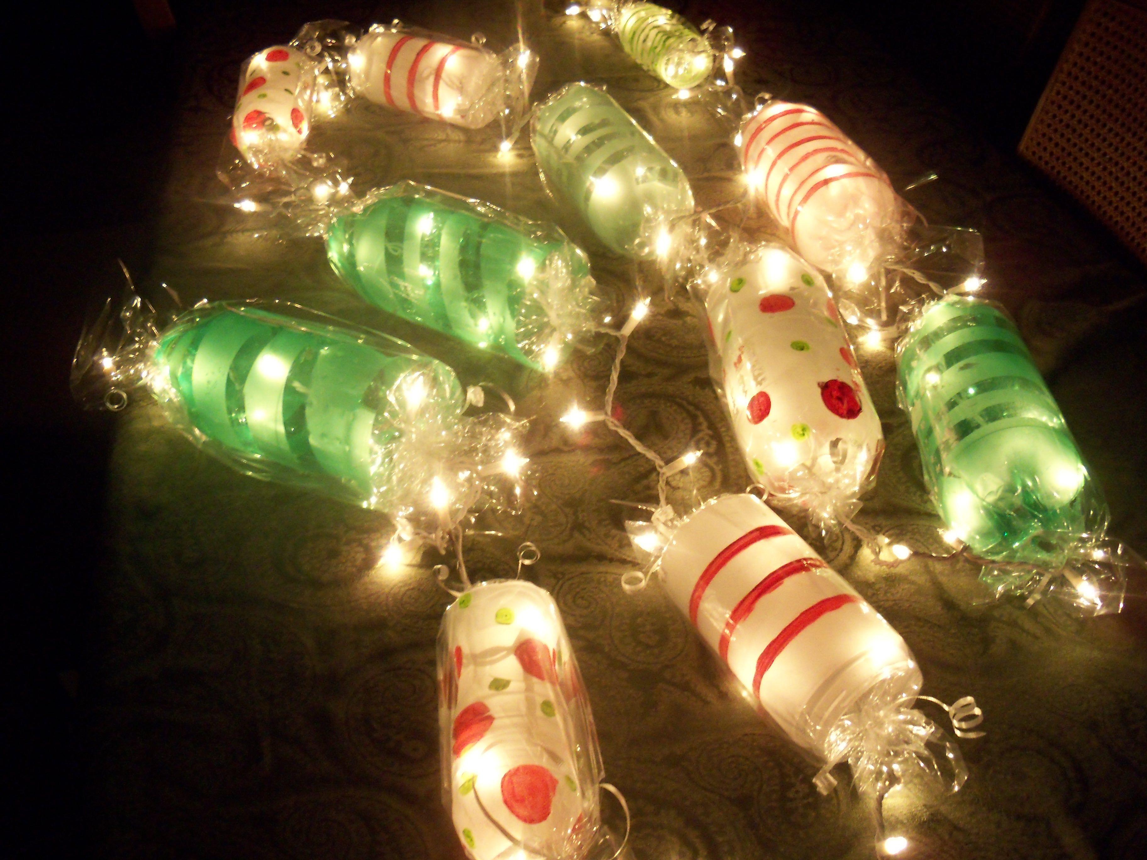 Candy Christmas Lights  Light up Candy Garland Cut ends off soda bottles paint