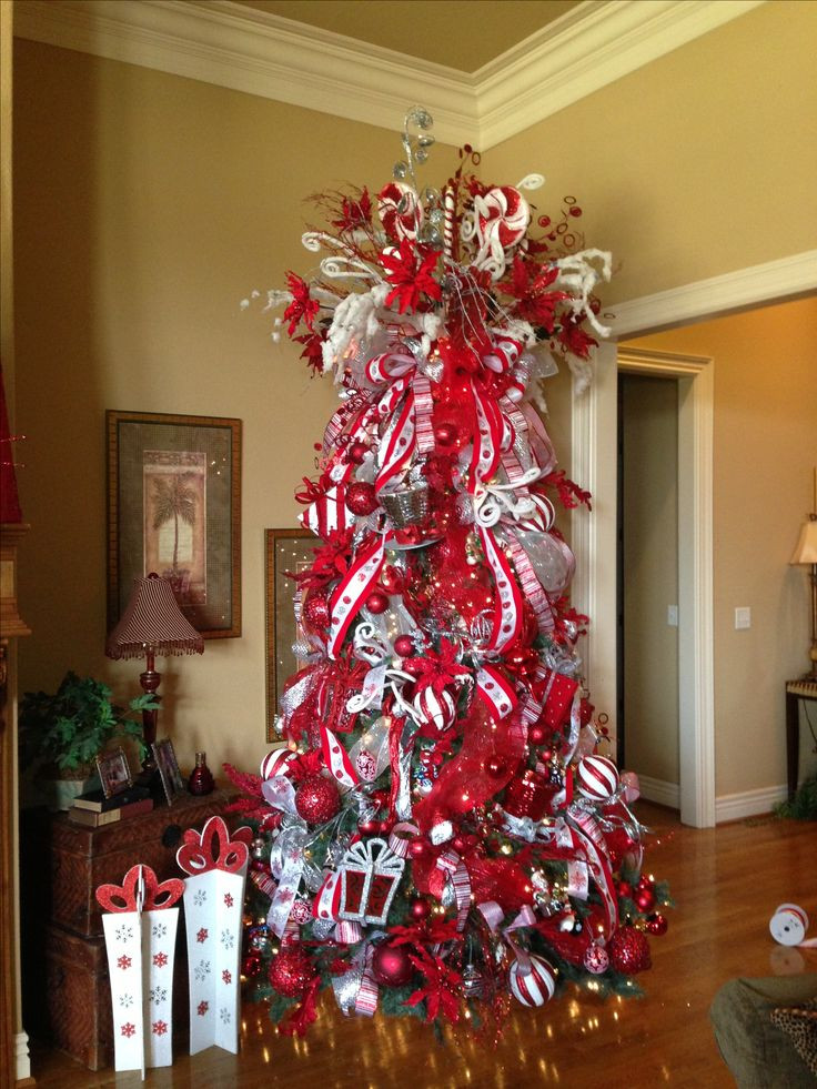Candy Christmas Tree Decorations  Red and White Candy Cane theme Christmas tree