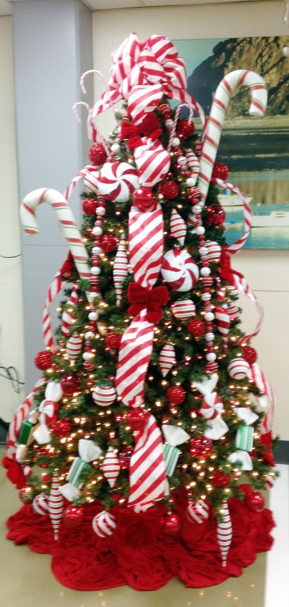 Candy Christmas Tree Decorations  Candy Cane Christmas tree Keeping Christmas