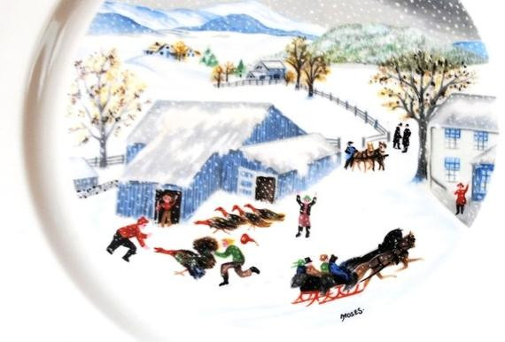 Catching The Thanksgiving Turkey  Grandma Moses Art Collector Plate Atlas by vintageeclecticity