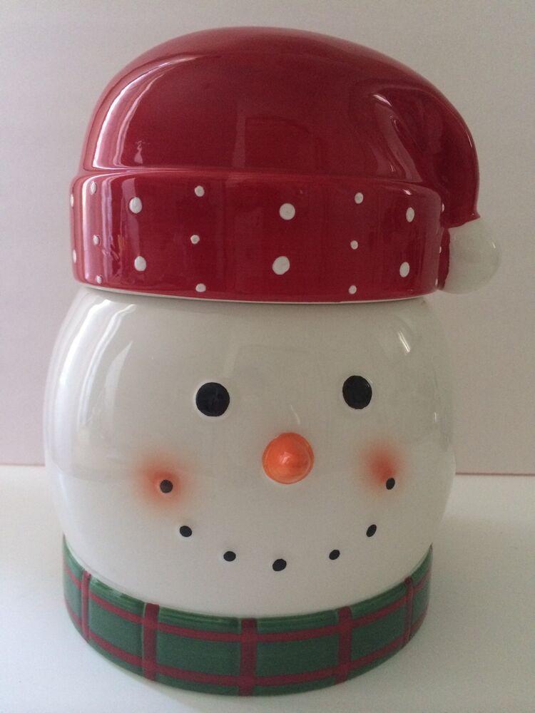 Cheryl'S Cookies Halloween  Cheryl s Snowman Treat Cookie Jar Canister Ceramic