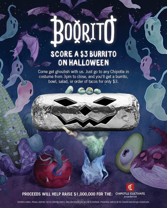 Chipotle 3 Dollar Burritos Halloween  Halloween at Chipotle $3 Burritos Bowls or Tacos