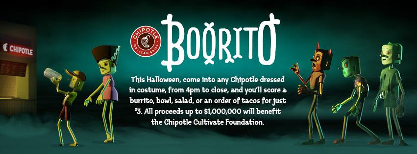 Chipotle 3 Dollar Burritos Halloween  Chipotle Burrito Bowl Salad or Order of Tacos ly $3