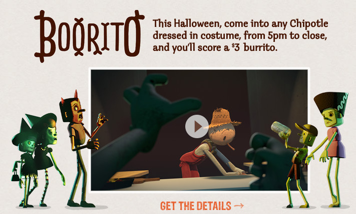 Chipotle 3 Dollar Burritos Halloween  Chipotle $3 Burrito on Halloween when you Dress up
