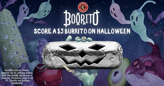 Chipotle 3 Dollar Burritos Halloween  Halloween Deals & Freebies Chipotle Boo ritos IHOP