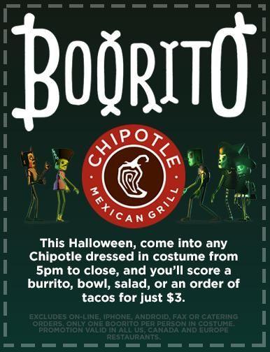 Chipotle Burritos Halloween  Chipotle Halloween $3 Burrito Bowl Taco or Salad $3 00