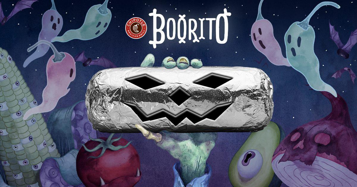 "Chipotle Burritos Halloween  $3 Chipotle ""Boorito"" Day Halloween 2017"