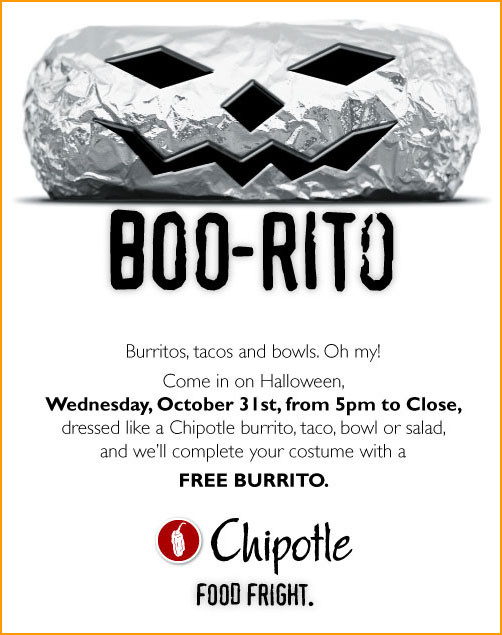 Chipotle Burritos Halloween  HALLOWEEN ONLY FREE CHIPOTLE BURRITO Doobybrain